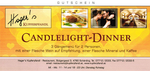Gutschein Candlelight-Dinner